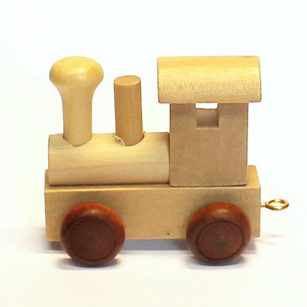 Buchstabenzug Lokomotive, Holz