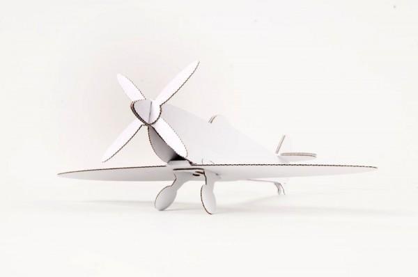 2 Propeller-Flugzeuge, Kartonbausatz, weiß