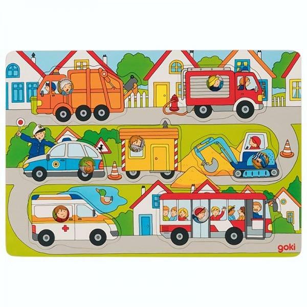 Hintergrundbildpuzzle Auf der Straße, Holz, 7 Puzzleteile