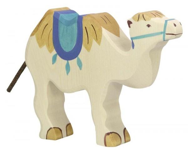 Holztiger Spielfigur Kamel mit Sattel