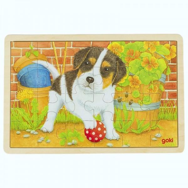 Einlegepuzzle Kleiner Hund, aus Holz