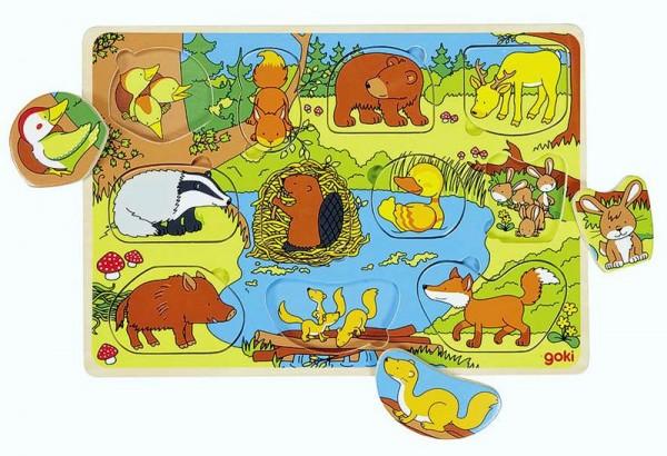 Hintergrundbildpuzzle Tierkinder, 11 Teile, Holz