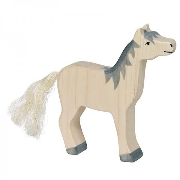 Holztiger Spielfigur Pferd, Kopf hoch, graue Mähne