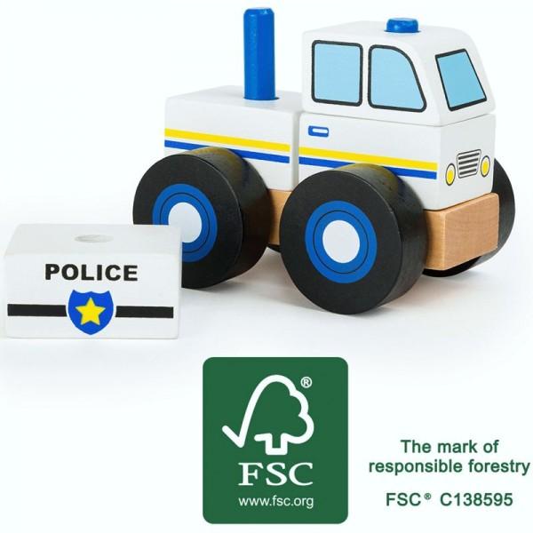 Kontruktionsfahrzeug Polizei, Polizeiauto zum Zusammenstecken