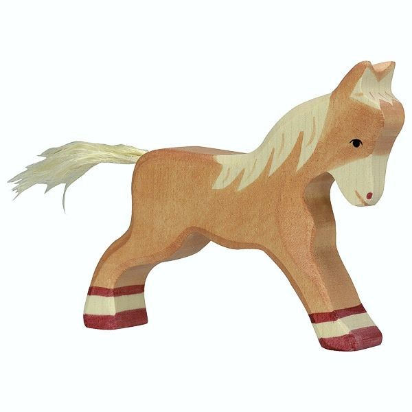Holztiger Spielfigur Fohlen, laufend, hellbraun
