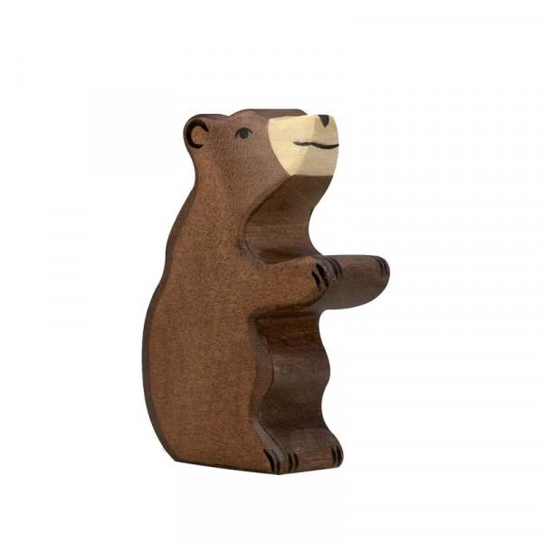 Holztiger Spielfigur Braunbär, klein, sitzend