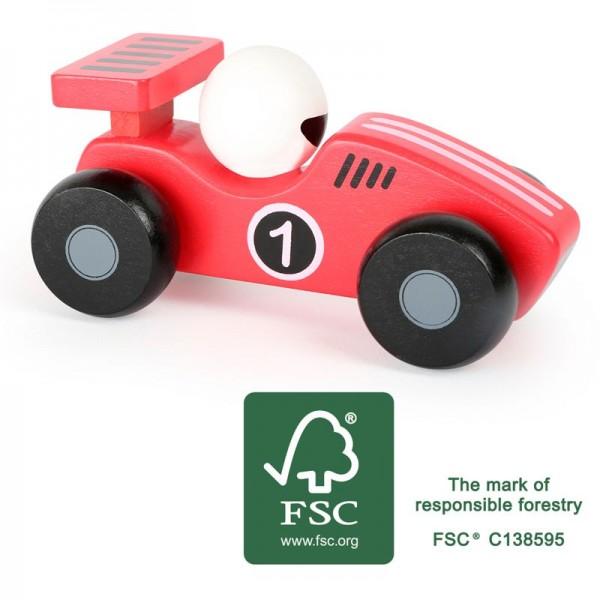Roter Flitzer, Schiebeauto, Rennwagen aus Holz
