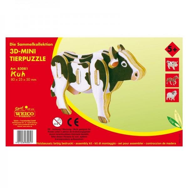 Holzbausatz 3D-Puzzle Kuh, bunt bedruckt