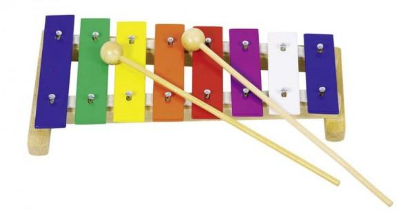 Xylophon 8 Tonplatten, 2 Holzklöppel