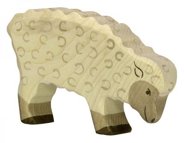 Holztiger Spielfigur Schaf, fressend