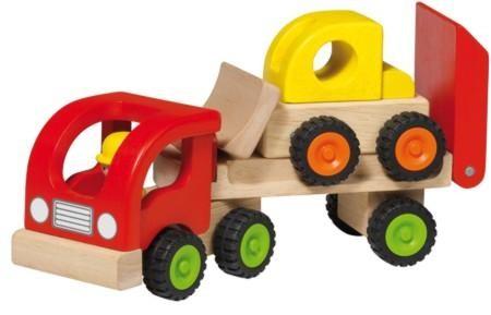 Holzspielzeug Mini Tieflader mit Radlader