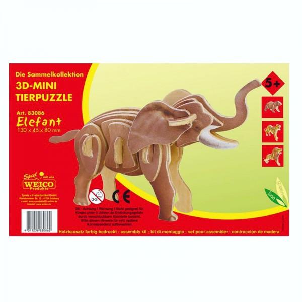 Holzbausatz 3D-Puzzle Elefant, bunt bedruckt