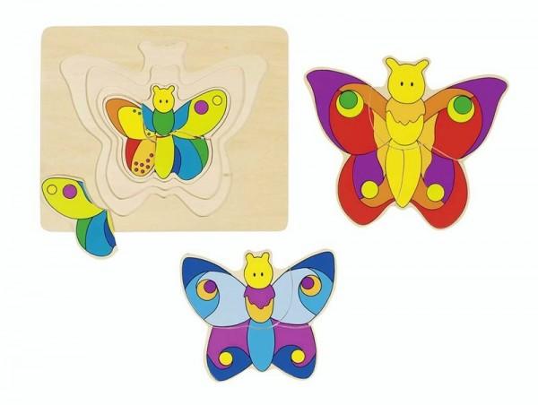 4 Lagen Schichtenpuzzle Schmetterling, Holz