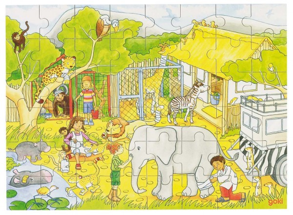 Puzzle aus Holz, Tieraufzuchtstation 48 Teile aus Holz