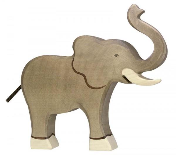Holztiger Spielfigur Elefant, Rüssel hoch