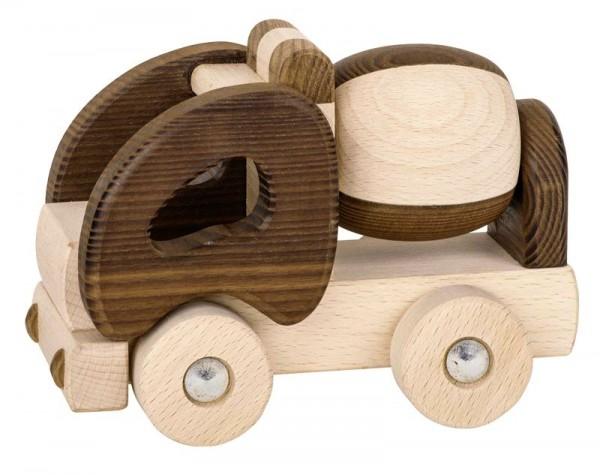 Holzspielzeug Auto Betonmischer, Holz natur