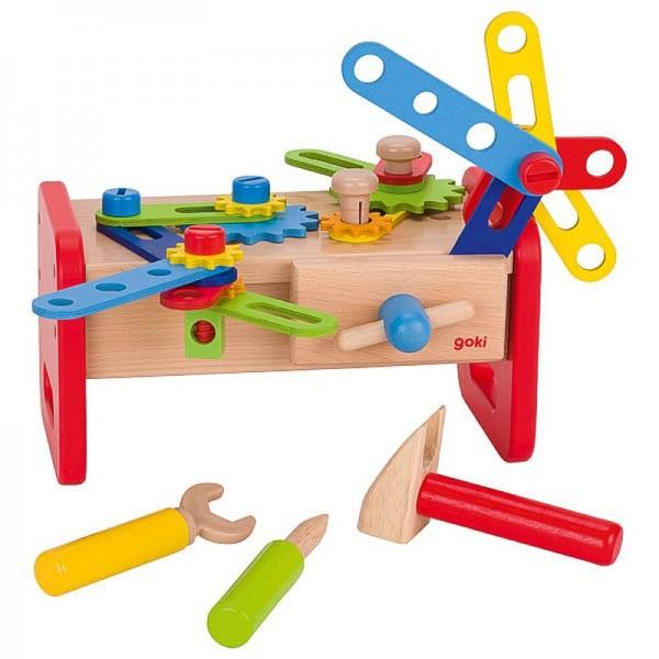 Werkbank, Spielzeugwerkbank mit 36teiligem Zubehör