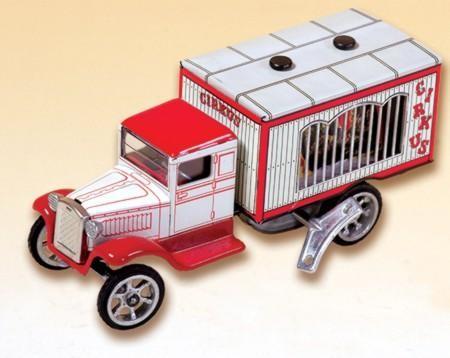 Blechspielzeug Zirkuswagen mit Tierkäfig