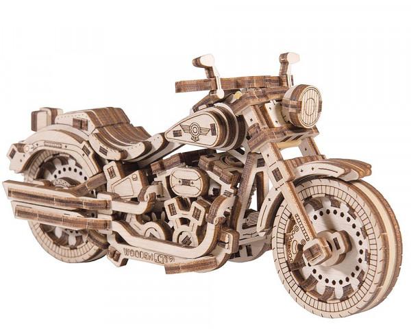 Wooden City mechanischer Holzbausatz Motorrad Cruiser V-Twin