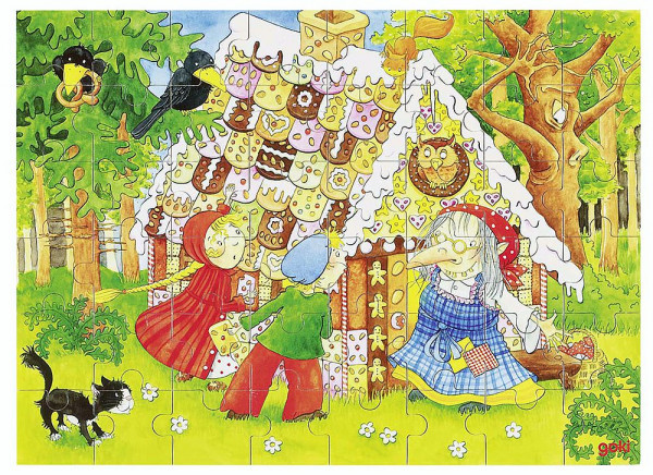 Puzzle aus Holz, Hänsel und Gretel, Holz, 48 Teile aus Holz