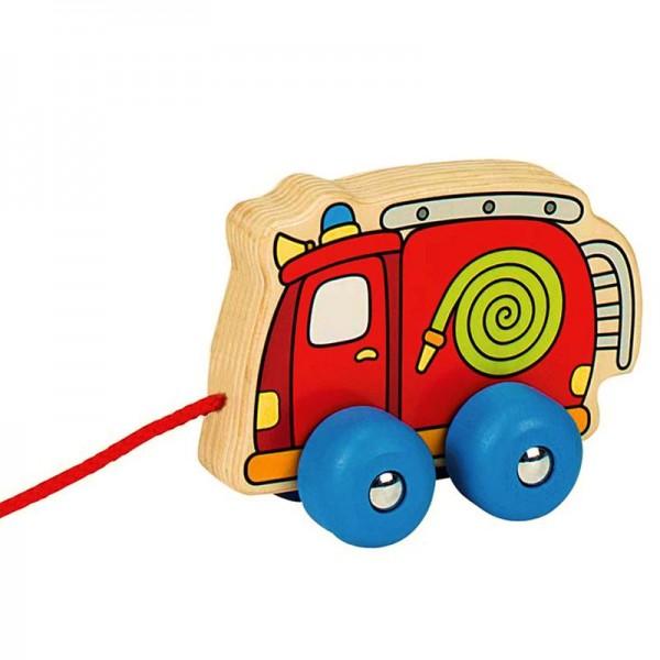 Ziehfahrzeug Feuerwehr, aus Holz