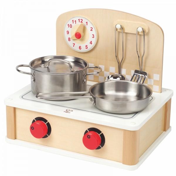 Mobiler Kochherd, 6 teilig Holz und Edelstahl