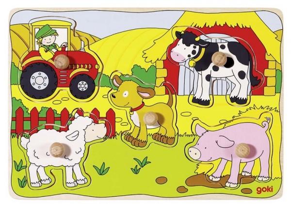 Steckpuzzle Auf dem Bauernhof 5-teilig, Holz
