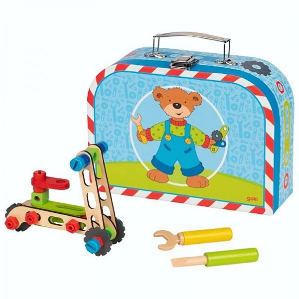 Fahrzeug-Baukasten im Koffer mit Schrauben und Werkzeug, aus Holz