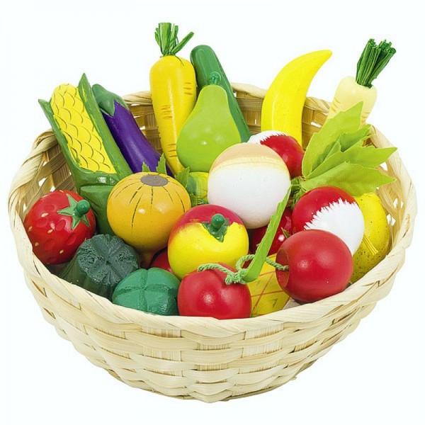 Obst und Gemüse im Korb, 23 Teile aus Holz
