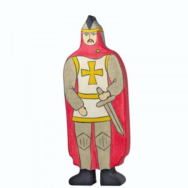Holztiger Spielfigur, Ritter mit rotem Mantel