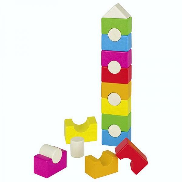 Stapelturm Regenbogenhaus, 19 Teile aus Holz