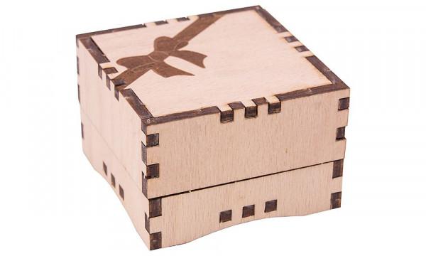 Holzbausatz Basteltruhe - Geschenkbox klein, Schleife