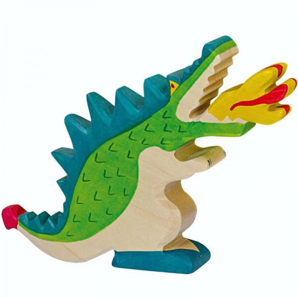 Holztiger Spielfigur Drache, grün