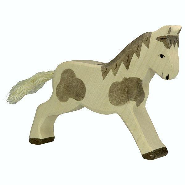 Holztiger Spielfigur Pferd, laufend, gefleckt