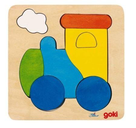 Goki Einlegepuzzle aus Holz, Lokomotive