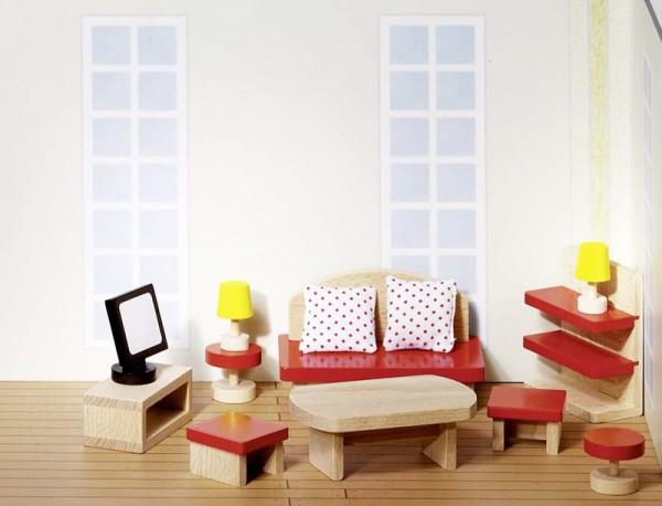Goki basic, Puppenmöbel Wohnzimmer, 13 Teile aus Holz