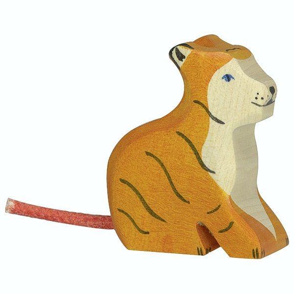 Holztiger Spielfigur, Tiger, klein, sitzend
