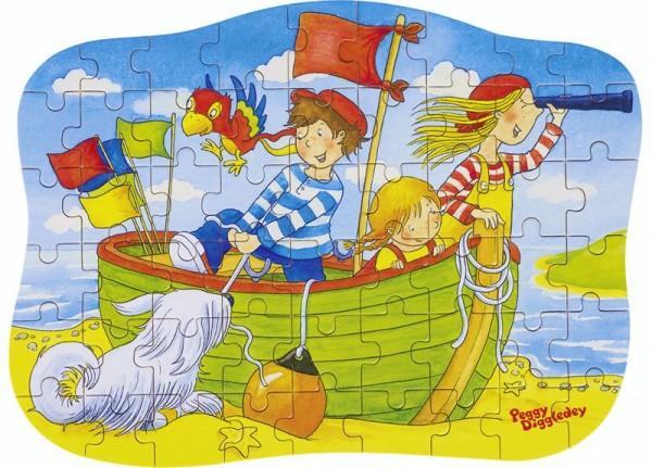 Konturenpuzzle Peggy Diggledey, Im Boot, 54 Teile aus Holz