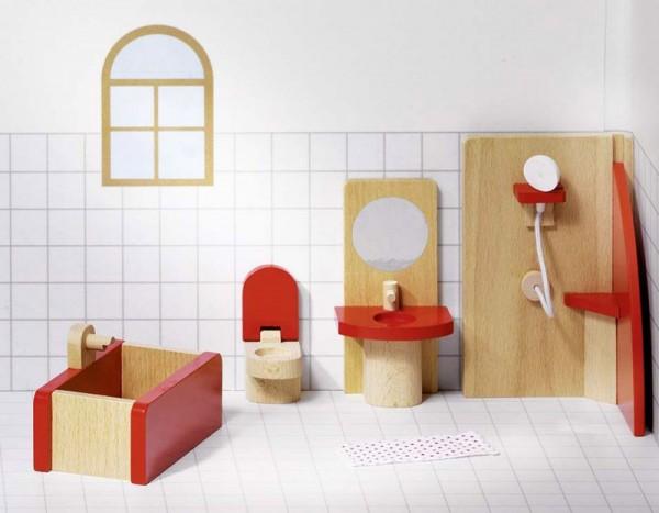 Puppennmöbel Badezimmer basic, 5 Teile aus Holz