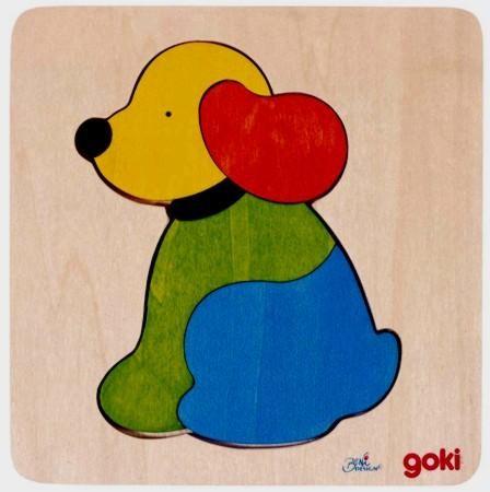 Einlegepuzzle Hund, Holz