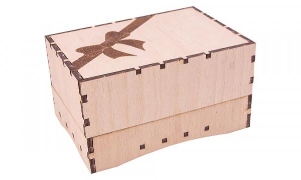 Holzbausatz Basteltruhe - Geschenkbox mit Schleife