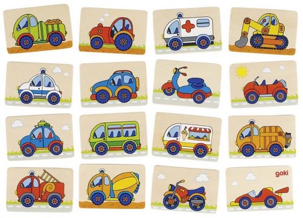 Memospiel Fahrzeuge, 32 Teile aus Holz