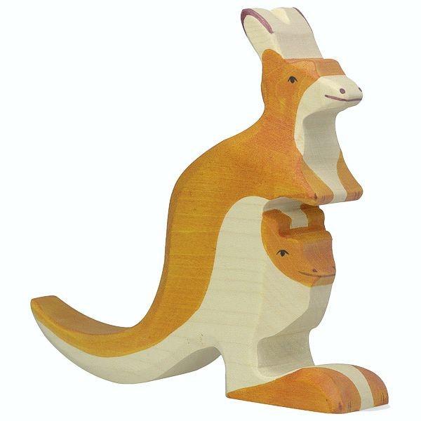 Holztiger Spielfigur Känguruh mit Jungem