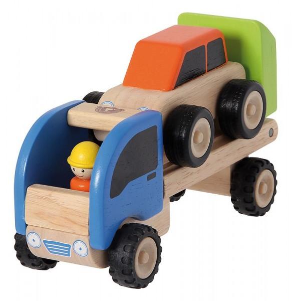 Autotransporter im Set mit Fahrzeug, Holzspielzeug, ab 18 Monate