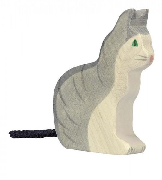 Holztiger Spielfigur Katze, sitzend