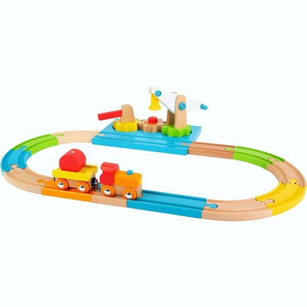 Holzeisenbahn mit Lok, Anhänger Kran und Schienensysrem, ab 24 Monate