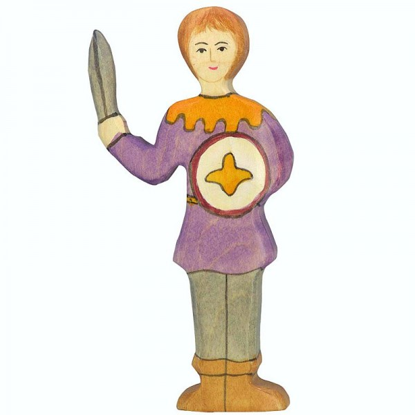 Holztiger Spielfigur Junge, violettes Hemd