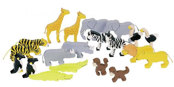 Holzspielzeug Afrika Tiere, 20 Stück im Set
