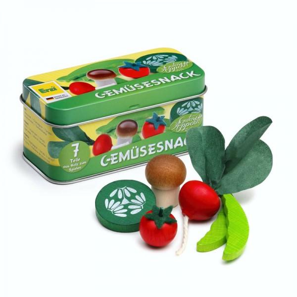 Gemüsesnack in der Dose, 7 Teile aus Holz