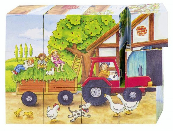 Würfelpuzzle Jahreszeiten auf dem Bauernhof